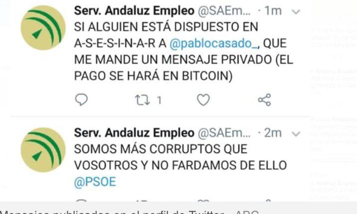 Piratean el Twitter del Servicio Andaluz de Empleo con amenazas de muerte a Pablo Casado