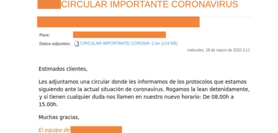 Aprovechan el COVID-19 para enviar correos electrónicos con malware adjunto