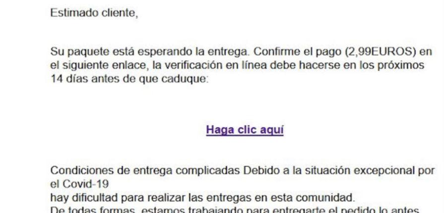 Suplantación a Correos solicitando un pago de 2,99€