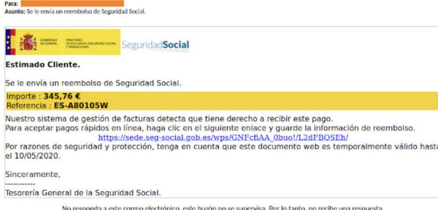 La Seguridad Social no te ha enviado ningún reembolso por correo electrónico