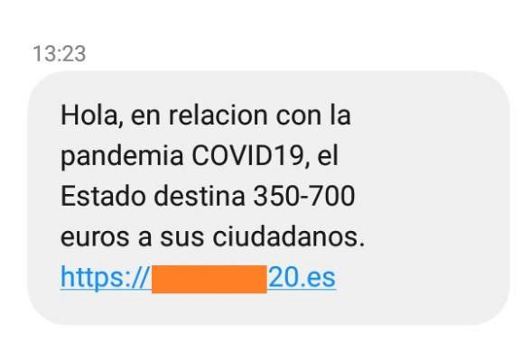 Identificados SMS fraudulentos con enlace a una web para solicitar una supuesta ayuda económica de entre 350 y 700 euros
